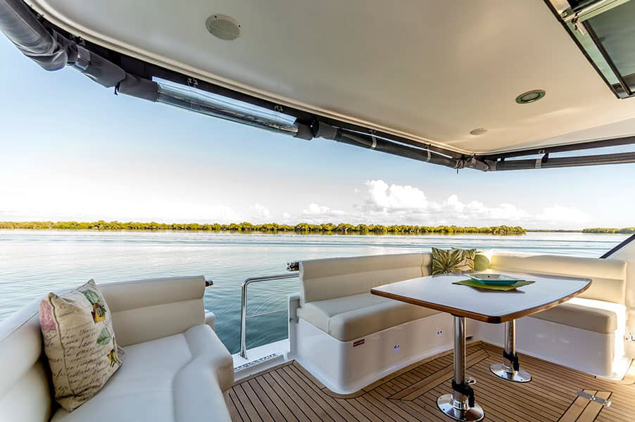 Entertainment area of a yacht